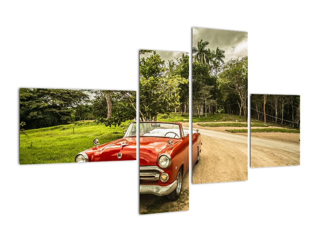 Obraz veterána - červené auto