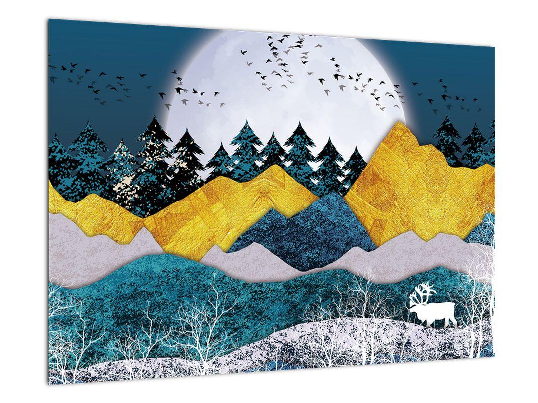 Abstraktní obraz krajiny s měsícem